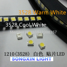 500 шт./лот 3528 SMD светодиодный Диод Супер яркий 1210 теплый белый/холодный белый каждый 250 шт. 3528 Белый 2x250 = 500 шт 3528 WW/CW