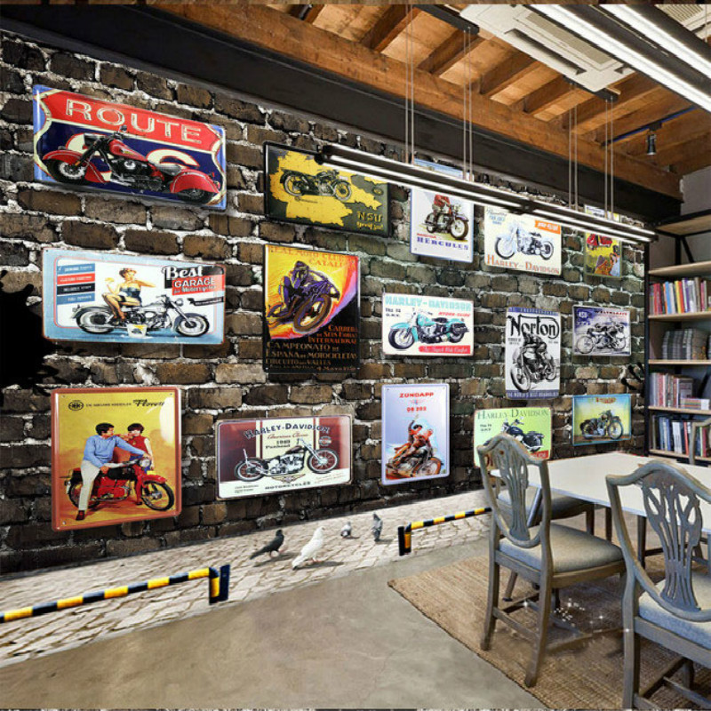 European and American motorcycle brick bar KTV large mural wallpaper TV wallpaper living room bedroom wallpaper stereo TV Videos free shipping large mural wallpaper villa living room ceiling european oil painting wallpaper
