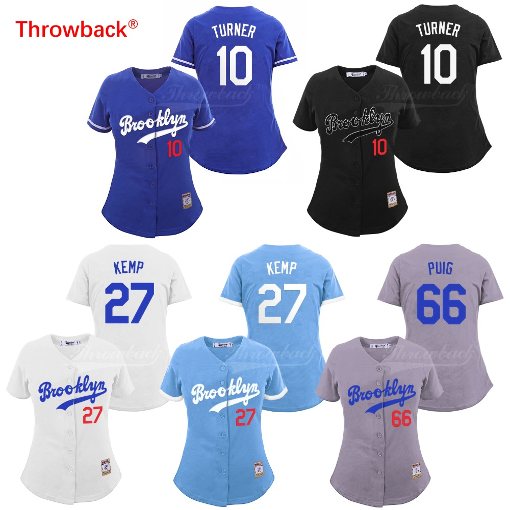 Detail Feedback Questions about Throwback Jersey Women s Brooklyn Baseball  Jerseys 27 Matt Kemp Jersey 10 Justin Turner 66 Yasiel Puig Size S 3XL Free  ... b19b90dd270