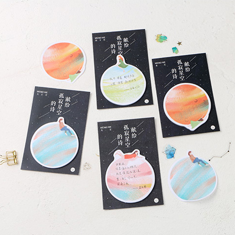Creative Lonely starry sky student memo pad a leave message paper sticker post sticky notes kawaii school stationery supplies