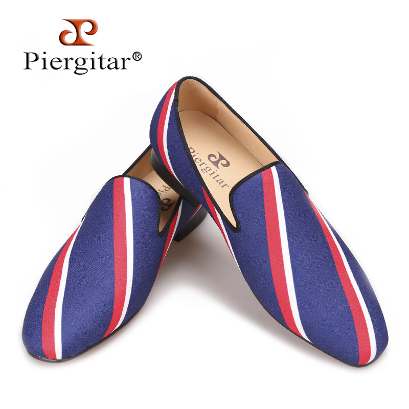 Piergitar 2017 new Square toe blue canvas shoes with striped design Party and Banquet men dress loafers Leather insole men flats