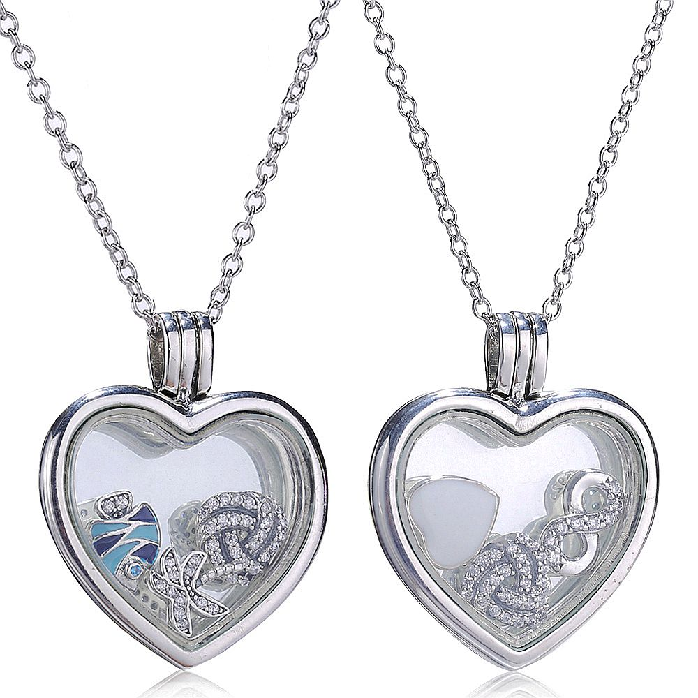 Slovecabin 925 Sterling Silver Floating Heart Locket Choker Chain Female Necklace For Women Long Crystal Glass