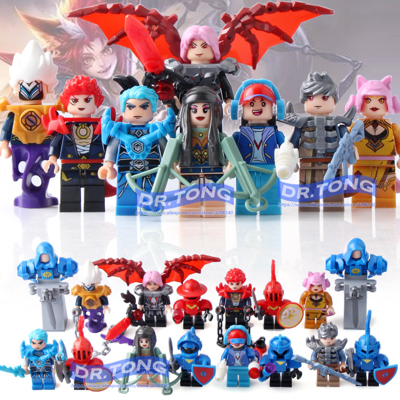 DR.TONG 8pcs/lot LELE39050 King of Glory Enlighten Super Heroes Building Blocks Bricks Toys Children Gifts 60pcs lot 108 111 ghostbusters super heroes figures with weapons building blocks bricks toys for children birthday gifts
