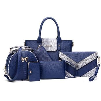 цена на 6pcs Women Handbag Set Fashion Leather Alligator Shoulder Crossbody Bags Ladies Messenger Tote Bag Purse Clutch Composite Bag