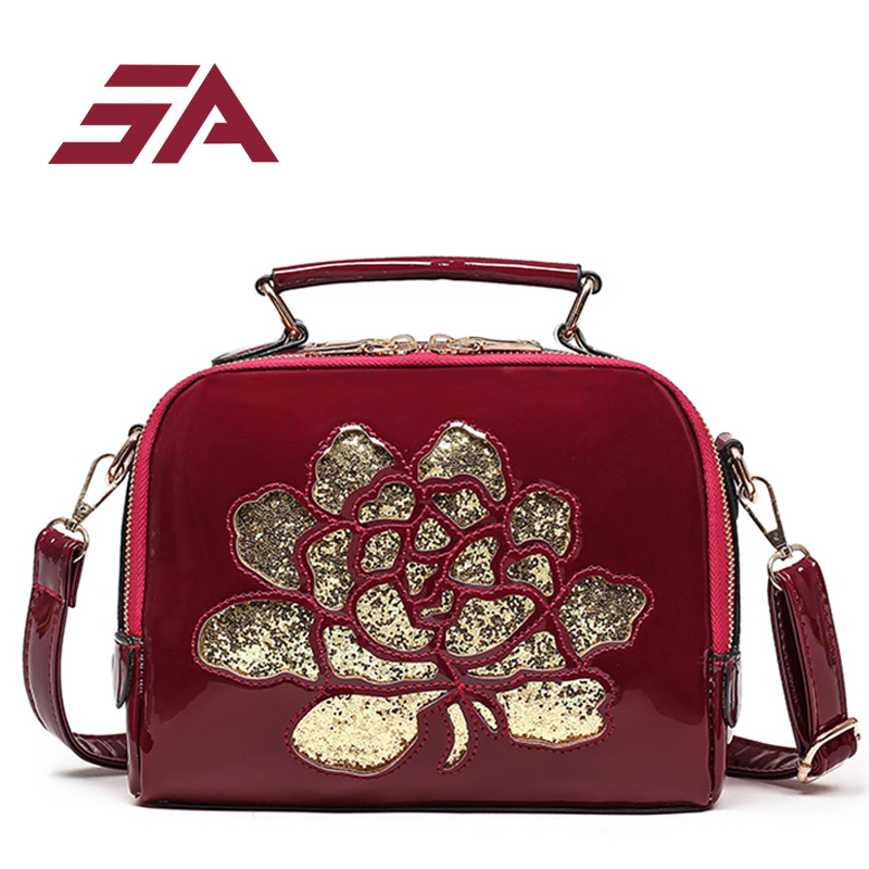 SA 2018 LUXURY pu Leather Women Shoulder Bag pinting flowers Brand Designer handbags Crossbody Ladies High Quality red