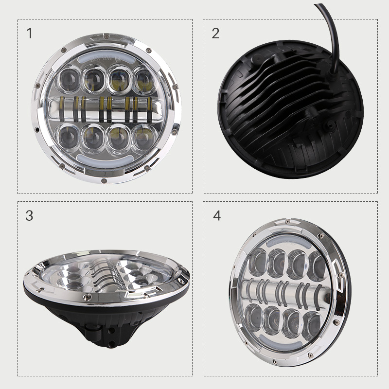 где купить 7'' inch headlight H4 motorcycle Round Led Headlamp Daymaker hi low beam Head Light Bulb DRL For harley JEEP Wrangler дешево