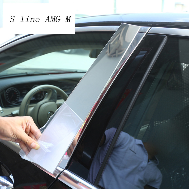 Car Styling Window B-pillars Decorative Cover Sticker strip Trim For <font><b>Mercedes</b></font> Benz <font><b>S</b></font> <font><b>Class</b></font> <font><b>W222</b></font> stainless steel auto Accessories image