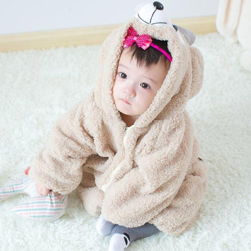 Baby Crawling Clothes Home Pajamas Winter Warm Rompers Hooded Super Cute Baby Wear Cartoon Bear Plush Siamese Sweater W2