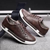 Трендовая повседневная обувь в стиле ретро; Мужские дышащие кроссовки; кожаная обувь на плоской подошве; Мужская Вулканизированная обувь; у...
