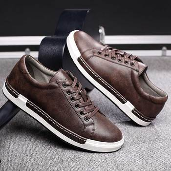 Трендовая повседневная обувь в стиле ретро, Мужские дышащие кроссовки, кожаная обувь на плоской подошве, Мужская вулканическая обувь, Уличн...
