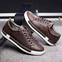 Trend Retro Casual Shoes Men Breathable Sneakers Leather Flat Shoes Men Vulcanize Shoes Outdoor High Quality Footwear Size 38-46