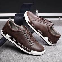 Trend Retro Casual Shoes Men Breathable Sneakers Leather Fla