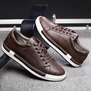 Image 1 - Trend Retro Casual Shoes Men Breathable Sneakers Leather Flat Shoes Men Vulcanize Shoes Outdoor High Quality Footwear Size 38 46