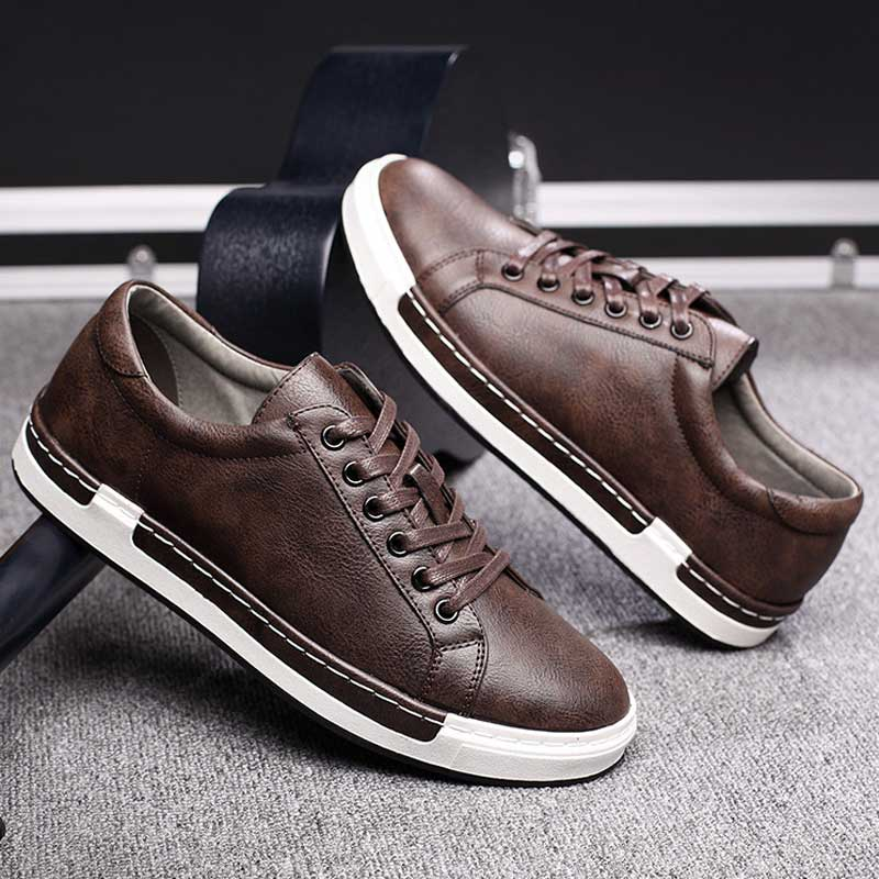 Trend Retro Casual Shoes Men Breathable Sneakers Leather Flat Shoes Men Vulcanize Shoes Outdoor High Quality Footwear Size 38 46