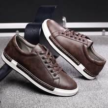 Trend Retro obuwie męskie oddychające sneakersy płaskie buty skórzane męskie buty wulkanizowane na zewnątrz wysoko wysokiej jakości obuwie rozmiar 38 46
