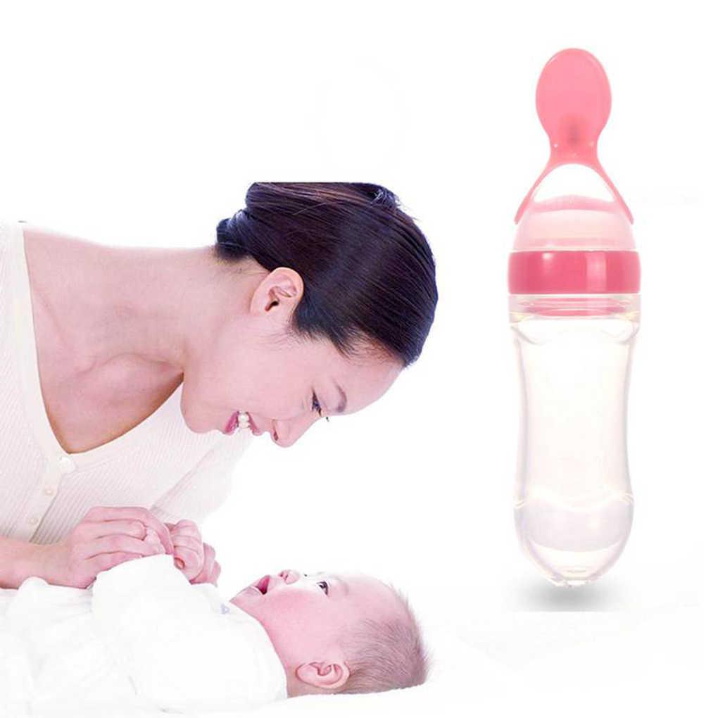 5 สีใหม่ 90 ml ซิลิโคน Squeeze เด็กทารกข้าวธัญพืชขวดช้อนทารกแรกเกิด Feeder ขวด