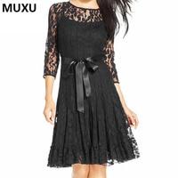 MUXU Autumn Sexy Women BLACK Lace Dress Jurken Vestidos Mujer Womens Clothing Jurk Club Clothing Moda