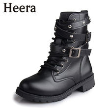 Hot Sale Fashion Women Motorcycle Boots Ladies Vintage Rivet Combat Army Punk Goth Ankle Shoes Biker Leather Autumn women boots