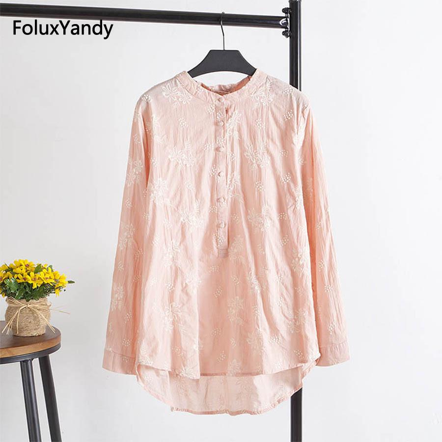 Brand New Embroidery Women Long Blouse Shirt Casual O-neck Plus Size 3 XL Loose Cotton Blouse Pink Green White KK1312