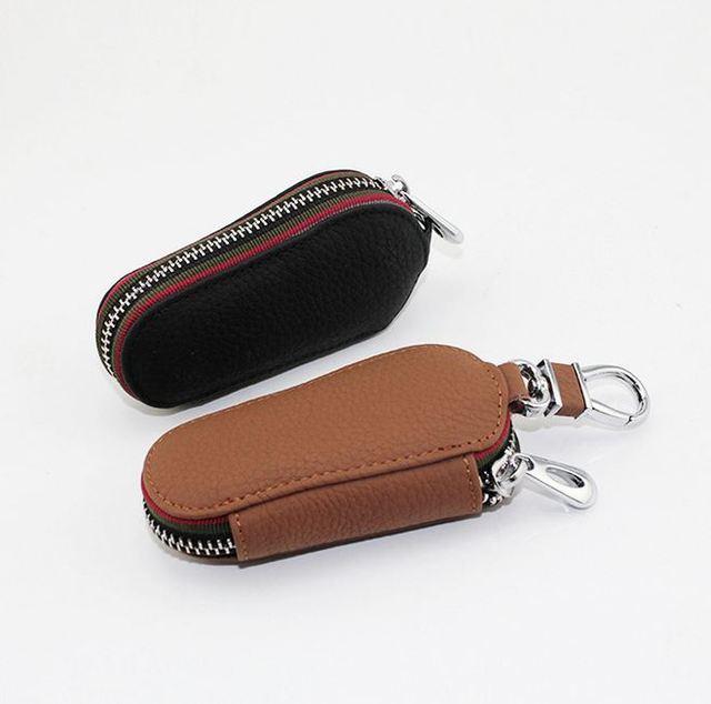 Key Holder Genuine Cow Leather Key Case Zipped Key Pouch Keychain Auto Car  Key Cases Bag High Quality c5344ad1f34d