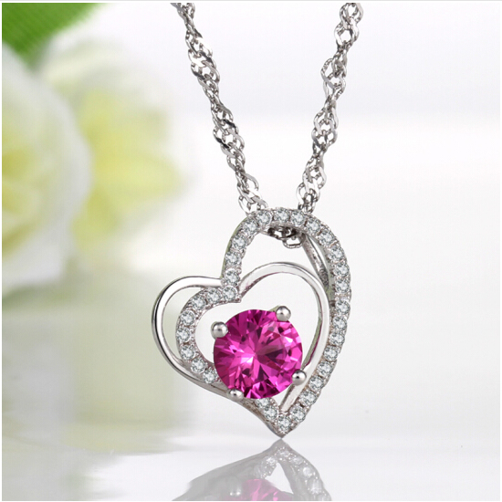 High Quality Crystal Pendant Necklace 925 Sterling Silver 45cm Chain with Box