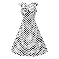 Sisjuly Vintage 1950s 60s Polka V Neck Dress 2017 New Summer White Female Knee Length Zipper