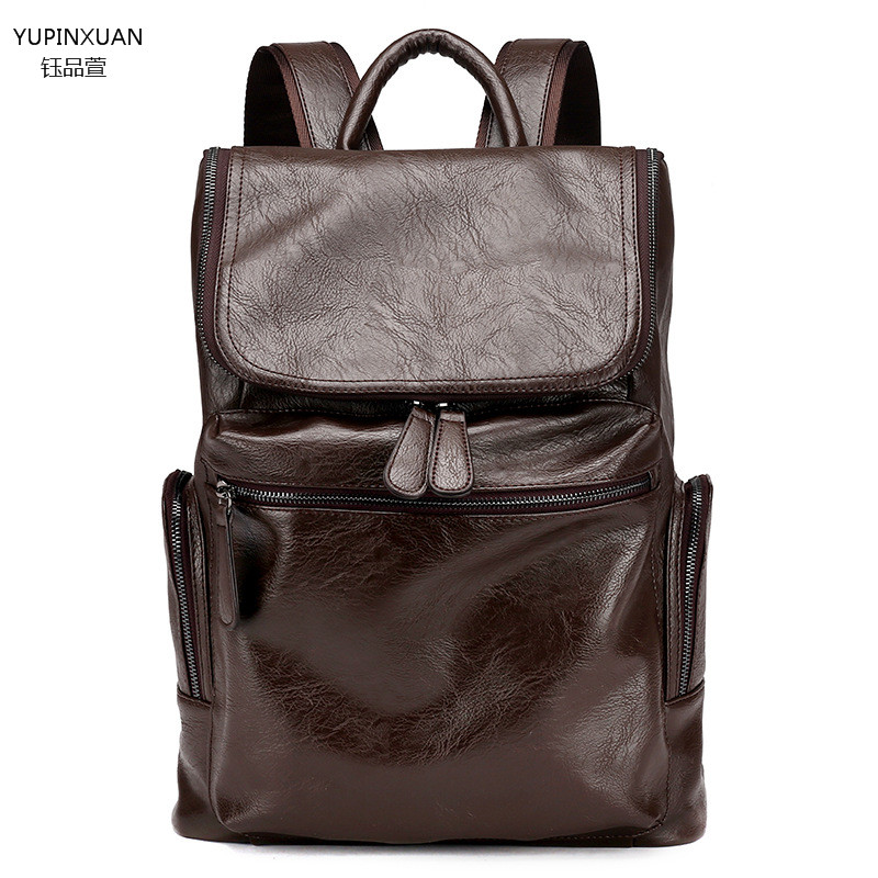 ФОТО YUPINXUAN Cow Leather Designer Backpack for Men Leather Casual Back Pack Male Large Capacity School Bags Genuine Leather