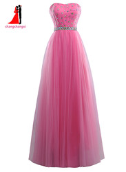 New strapless pink long bridesmaid dresses 2017 plus size wedding party gown tulle with beads maid.jpg 250x250