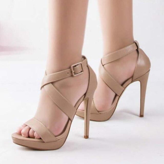 7ebfbcaf8f Elegante salto alto sandálias gladiador das mulheres sapatos de Couro  genuíno mulher sapatas das senhoras do