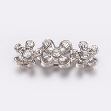 PandaHall 10pcs 6.5x18x4mm Alloy with Grade A Middle East Rhinestone Bar  Spacers for Jewelry Making 35618bdca17d