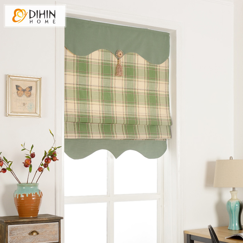 25 Modern Roman Shades For Beautiful Room Decorating: Green Color Striped Curtain Modern Valance Cotton/Linen