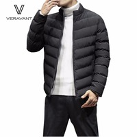 Veravant Men Casual Parkas Cotton Coat Solid Color Winter Jacket Men S Hooded Coat 3 Colors