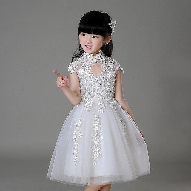 Élégant Blanc Tulle Sequin Fleur Fille Robe Enfant Parti Robe De Mariage Robe  Filles Première Communion fe8ea20194b5