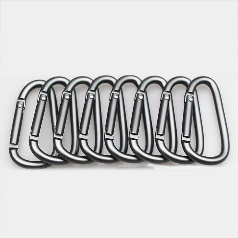 5Pcs/Lot D-Type Aluminum Alloy Carabiner Buckle Camping Equipment Backpack Buckle Water Bottle Hanging Buckle Snap Hook Keychai