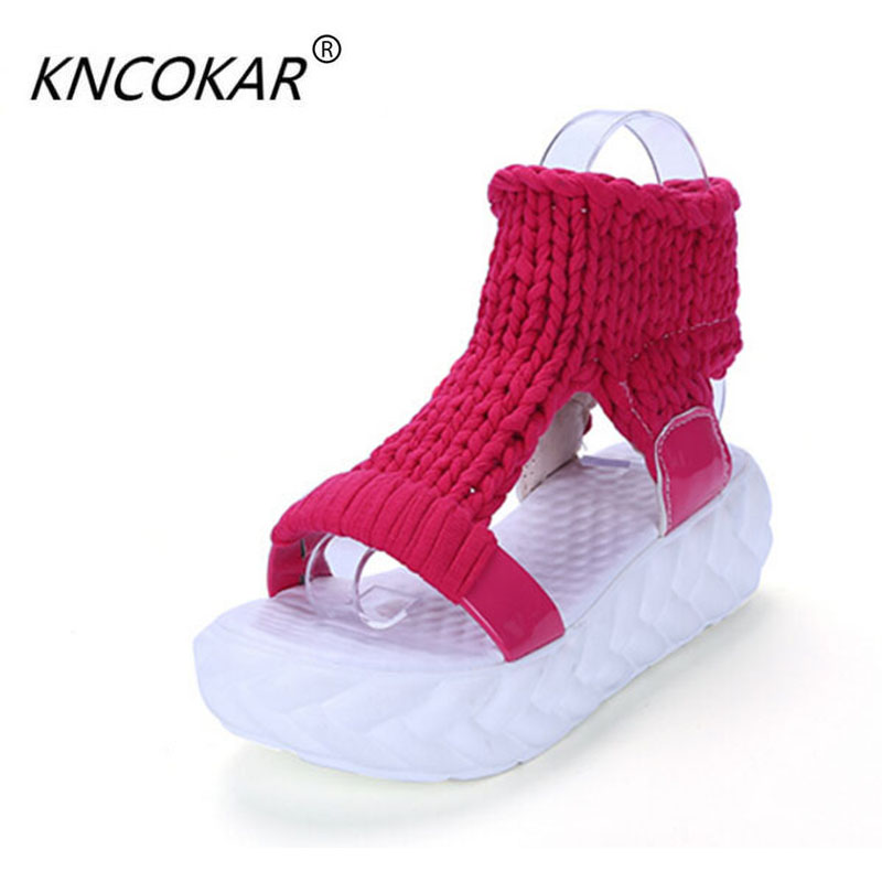 Female Sandals Shoe Comfortable Summer in The of with Women's New Flat-Cake Large-Base