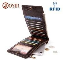 JOYIR RFID Blocking Wallet  Cards Holders Slim Men Wallets Vintage Man Zipper Coin Purse Phone Bag Billetera Hombre
