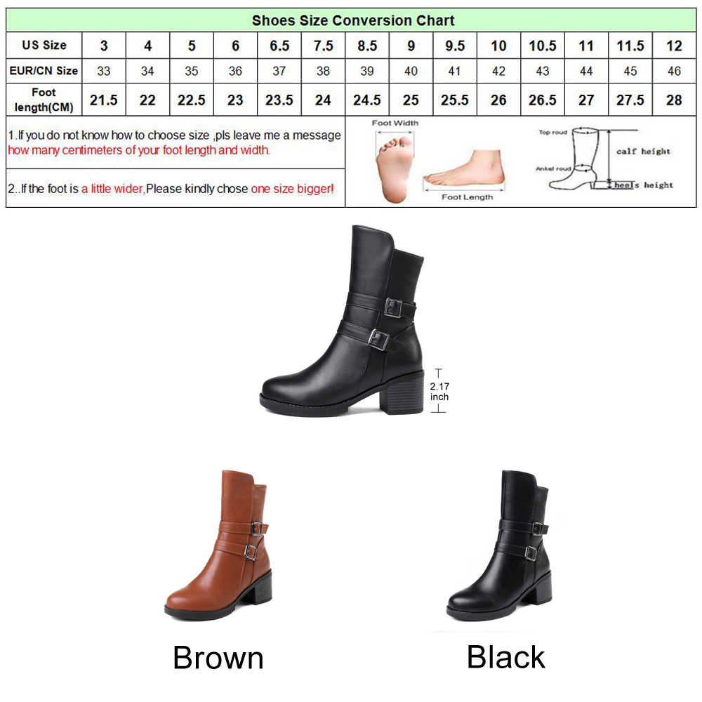 1e1badd895e ... Meotina Mid Calf Boots Women Button Winter Boots High Heel Boots Square Heel  Zipper Shoes Ladies