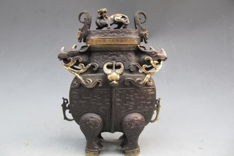 Chinese refined craftwork Pure Bronze Ox Bull God Zun With Foo Dog Lion CenserChinese refined craftwork Pure Bronze Ox Bull God Zun With Foo Dog Lion Censer
