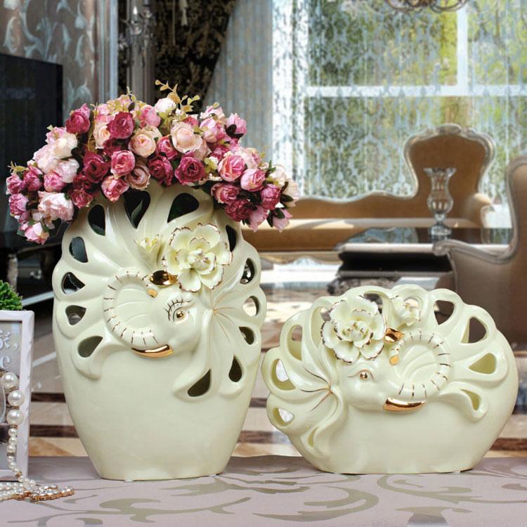 European ceramic vase handmade baskets Mediterranean mesa hollow gilt elephant ornaments crafts