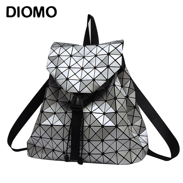 Women Backpack Feminine Geometric Plaid Sequin Female Backpacks For Teenage Girls Bagpack Drawstring Bag Holographic Backpack
