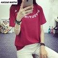 2017 Ropa de Verano de Corea Del Algodón Mujeres de la Camiseta de Manga Corta Del O-cuello Casual Camiseta Floja Tops Camisetas Mujer