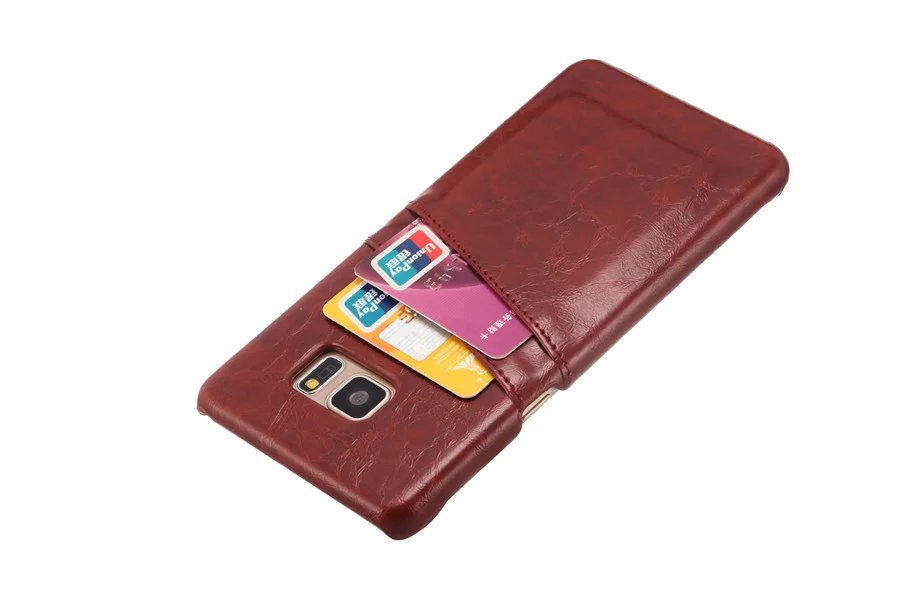 Leather Samsung Galaxy Note 5 Note7 S7edge Hard Card Protecive Back Cover For Samsung S7 Edge Note5 Note 7 Shell