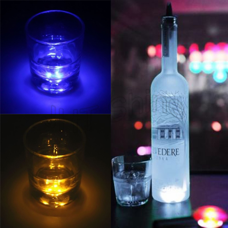 2pcs LED Decoration Light Bottle Stickers LED Glorifier Mini Light LED Coaster Cup Mat for Party Bar Club Vase Xmas Wine Glass