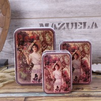 Free Shipping 3pcs Set European Style Beautiful Lady Cookie Box Candy Storage Tin Storage Case Food
