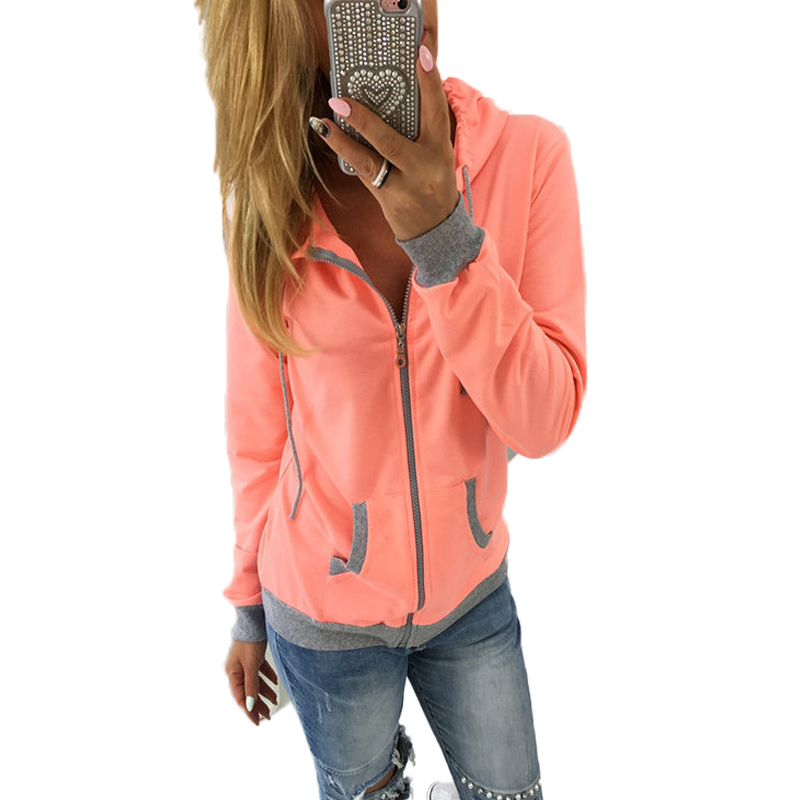 Women Autumn Jackets Long Sleeve Autumn Hooded Coats Outerwear Casual Ladies Jackets Pockets Zipper Patchwork Colors