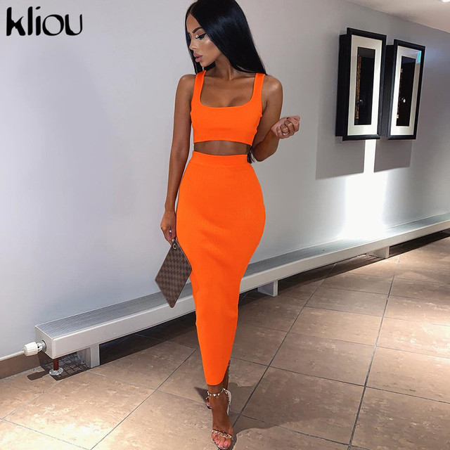 Kliou women fashion two pieces outfits solid Fluorescence sexy camisole top high waist skirt 2019 female fashion party club sets