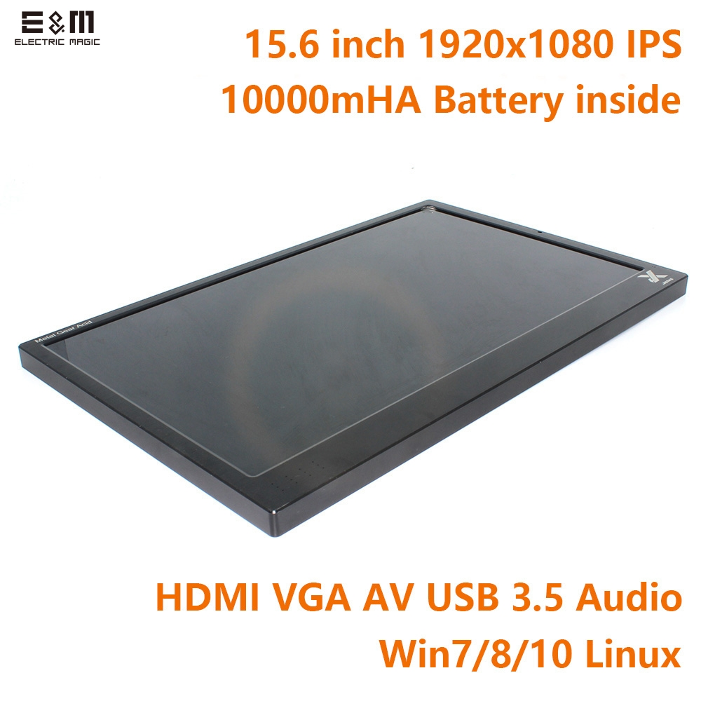 E&M 10000mAh 15.6 inch 1920*1080 Portable Game Display 5V Battery IPS HDMI 1080P VGA USB Car Raspberry Pi Xbox One PS4 Monitor