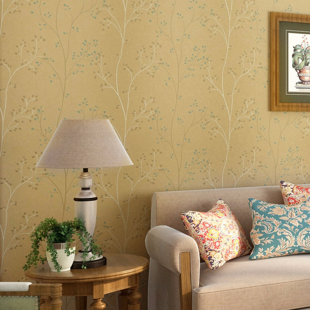 American Style Village Non woven Wallpaper 3D Pastoral Tree Branches ...