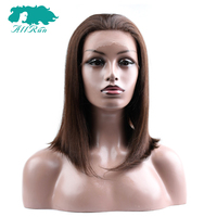 #4 Light Brown Lace Front Human Hair Wigs Brazilian Straight Hair Short Bob Wig Free Part For Women Full End Non remy Bang Wigs