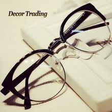 Fashion Cat Eye Half Metal Frame Glasses For Women/Men Retro Vintage Unisex Glasses Big Frame Slim Face Eyewear Glasses 29417
